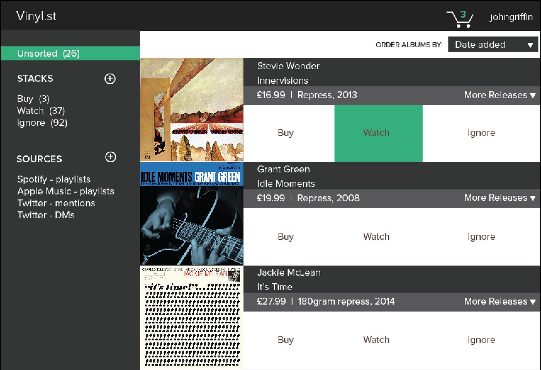 Mock up of Vinyl.st app